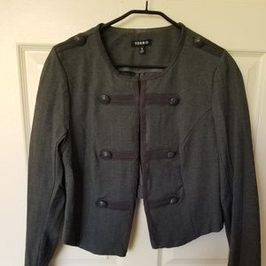 Grey knit military style jacket